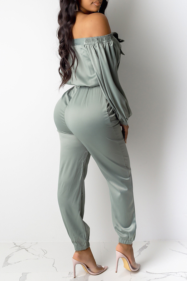 Lovely Casual Buttons Design Green One-piece Jumpsuit