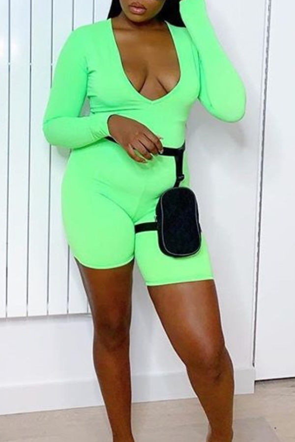 Lovely Casual U Neck Green One-piece Romper