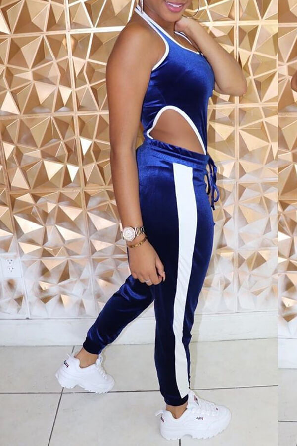 Lovely Leisure Patchwork Blue Two-piece Pants Set