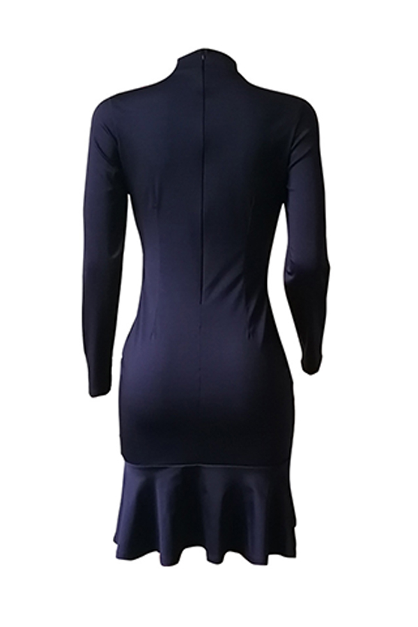 Lovely Sweet Cold Shoulder Dark Blue Knee Length Dress