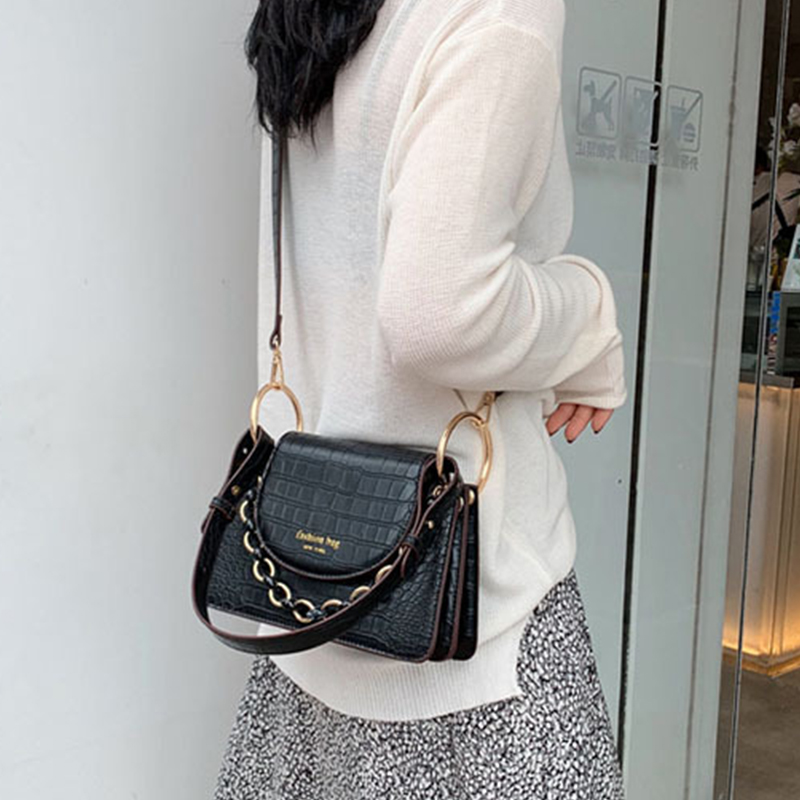 Lovely Casual Chain Strap Black Messenger Bag