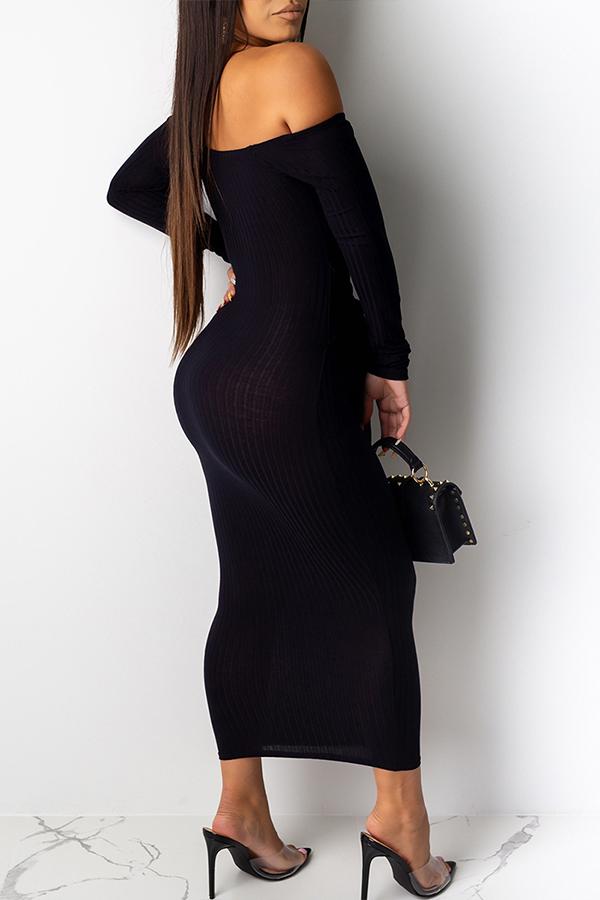 Lovely Casual Dew Shoulder Black Ankle Length Dress
