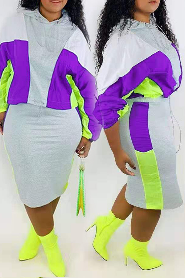 Lovely Casual Hooded Collar Patchwork Purple Two-piece Skirt Set