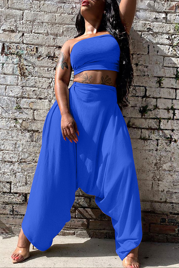 Lovely Casual Loose Blue Two-piece Pants Set