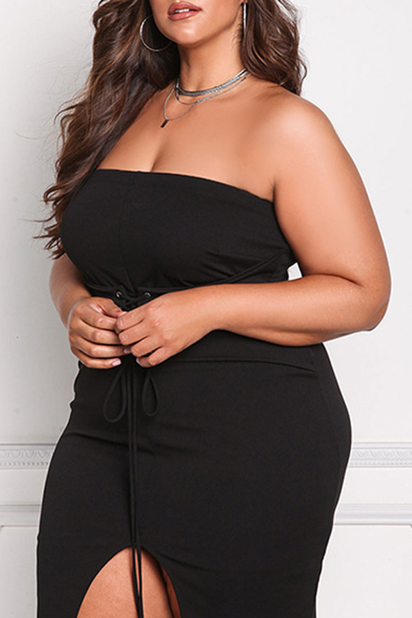 Lovely Casual Sleeveless Bandage Design Black Knee Length Plus Size Dress