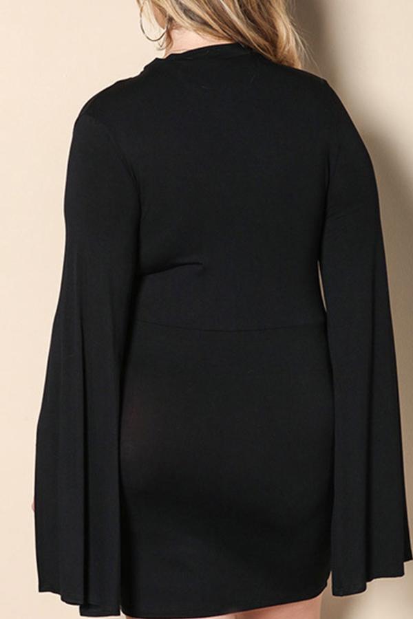 Lovely Trendy Cloak Design Black Plus Size Mini Dress