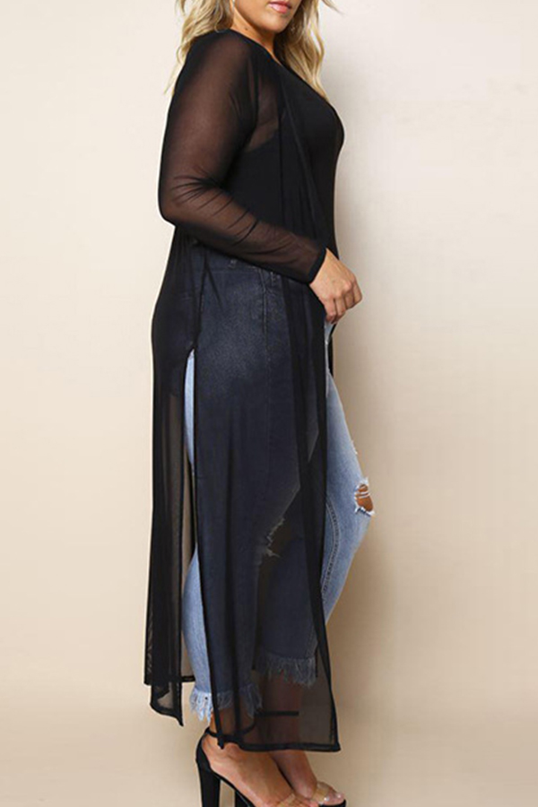 Lovely Casual See-through Black Plus Size Coat