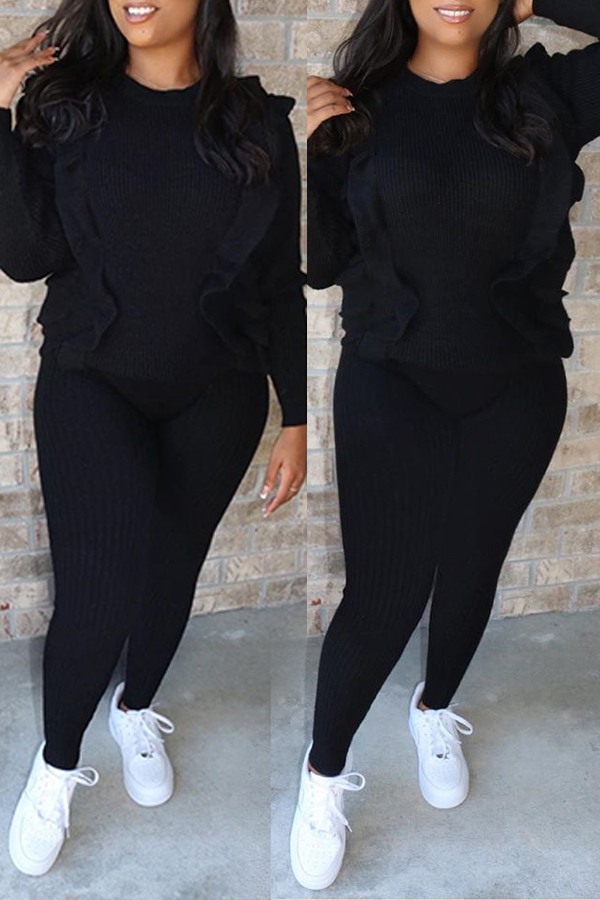 Lovely Casual O Neck Flounce Design Black Two-piece Pants Set