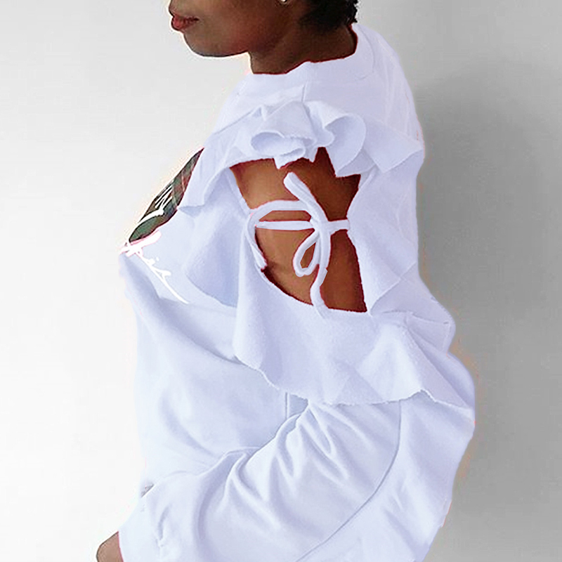 Lovely Casual Hollow-out White Sweatshirt Hoodie