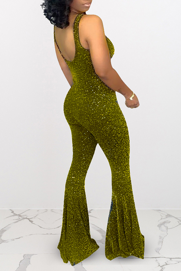 Lovely Trendy Sleeveless Gold Flared One-piece Jumpsuit