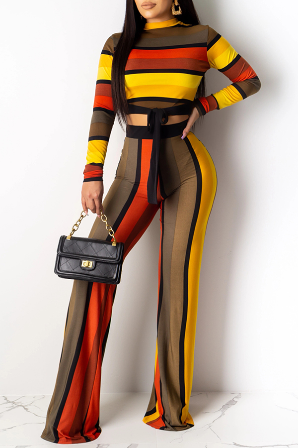 Lovely Casual Striped Knot Design Yellow Two-piece Pants Set