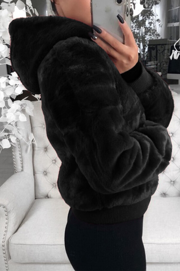Lovely Casual Hooded Collar Black Coat