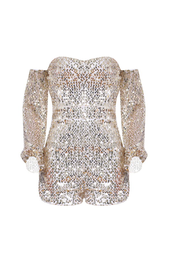 Lovely Sexy Sequined Design Gold One-piece Romper