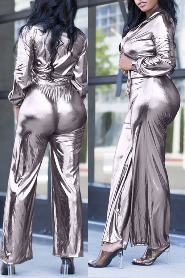Lovely Sexy Deep V Neck Silver One-piece Jumpsuit