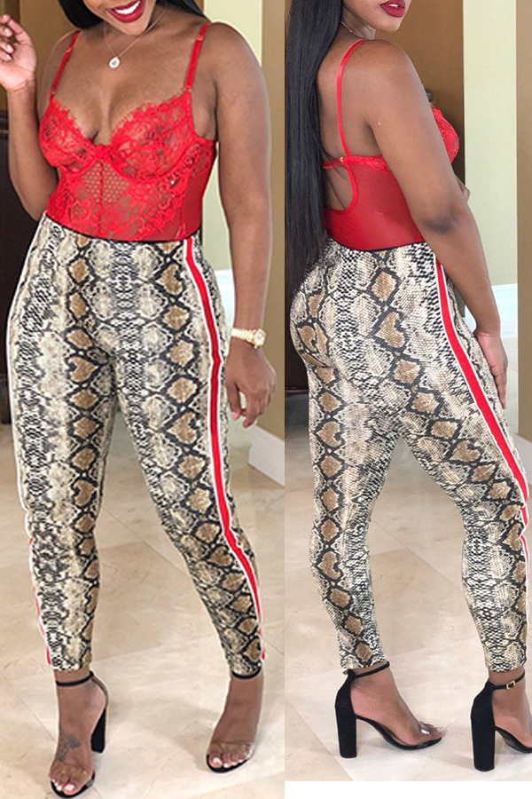 Lovely Leisure Printed White Pants