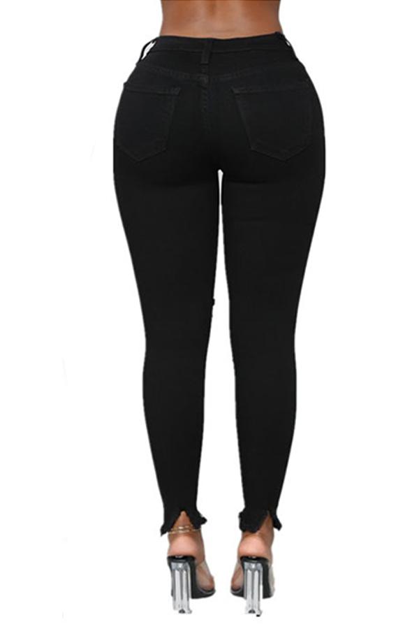 Lovely Casual Broken Holes Black Pants