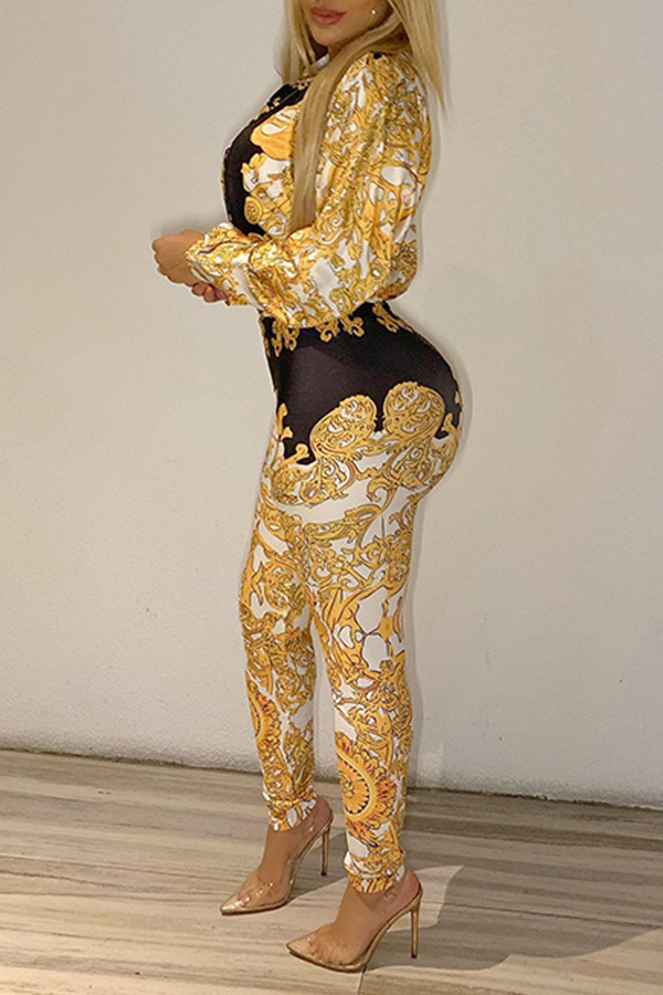 Lovely Chic Turndown Collar Printed Gold Two-piece Pants Set