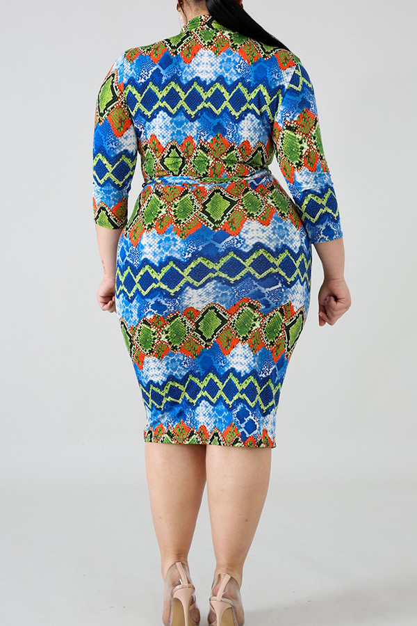 Lovely Casual Snakeskin Printed Mid Calf Plus Size Dress