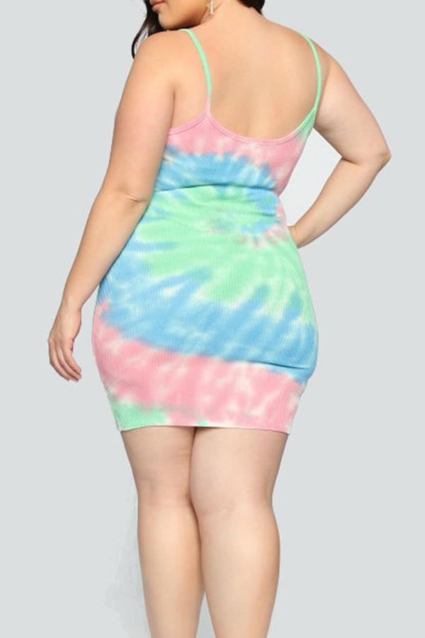 Lovely Casual Gradual Change Baby Blue Plus Size Mini Dress