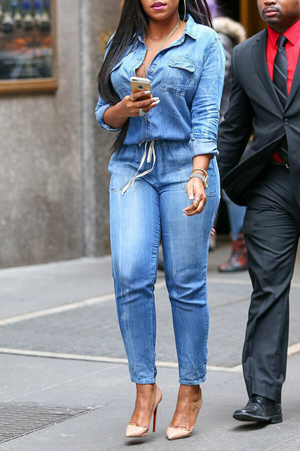 Lovely Casual Drawstring Blue One-piece Jumpsuit