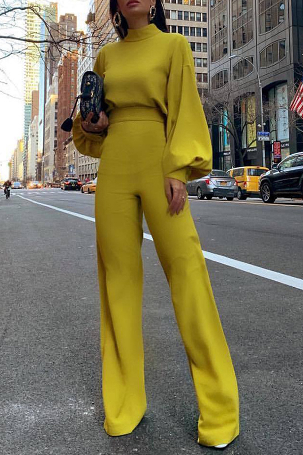 Lovely Casual Puff Sleeves Yellow One-piece Jumpsuit
