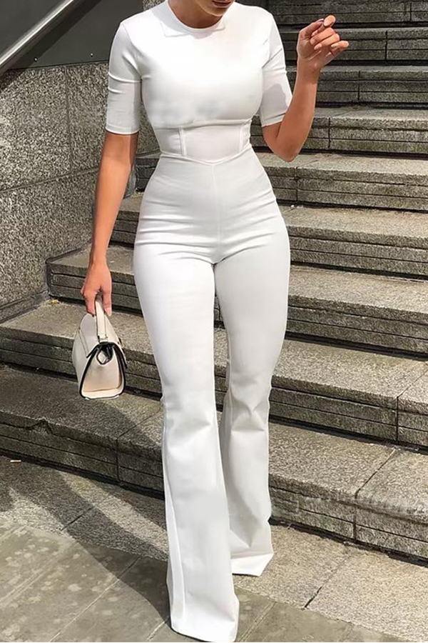 Lovely Work Patchwork White One-piece Jumpsuit