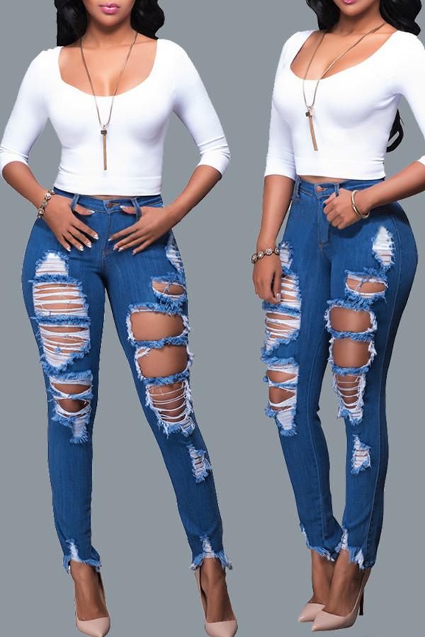 Lovely Leisure Broken Holes Deep Blue Jeans