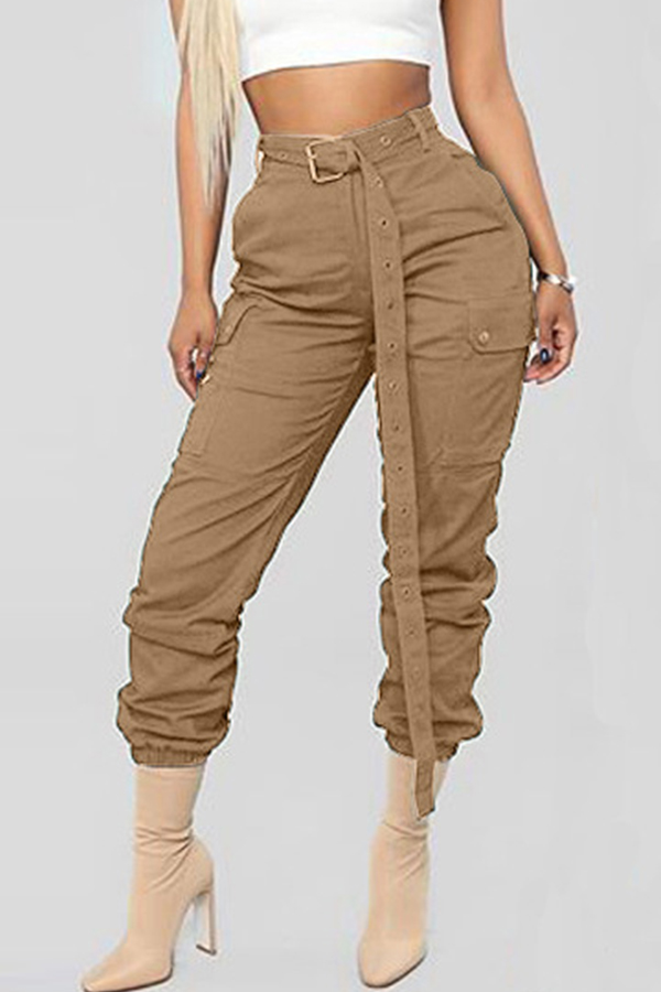 Lovely Casual Lace-up Coffee Pants