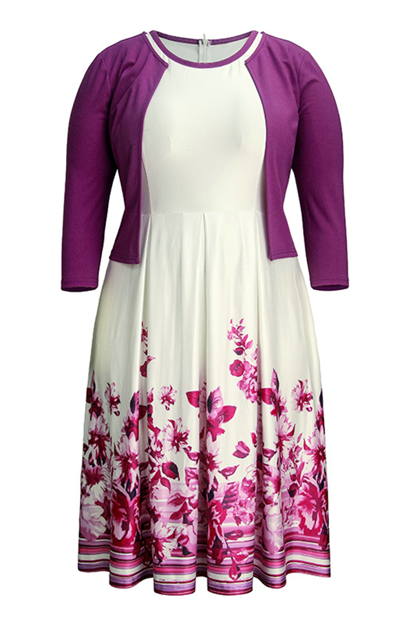 Lovely Casual Printed Purple Plus Size Two-piece Skirt Set