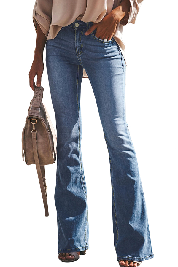 Lovely Leisure Flared Baby Blue Jeans