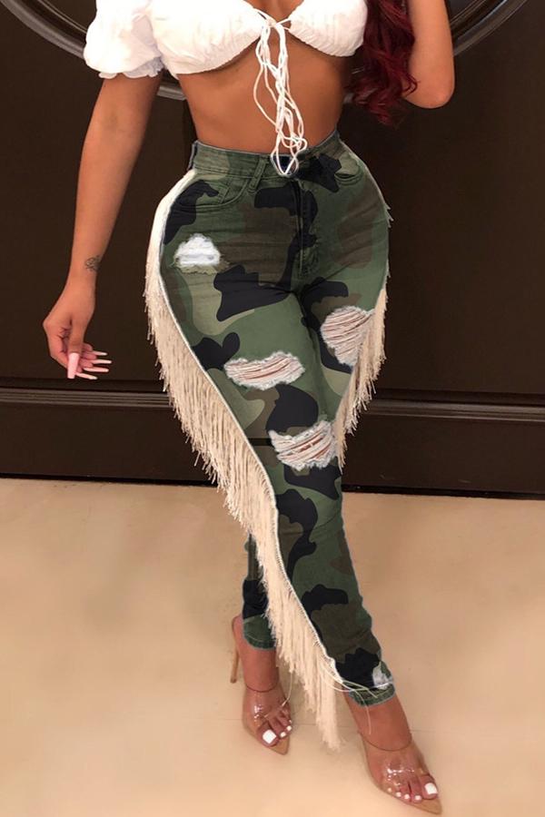 Lovely Leisure Tassel Design Camouflage Printed Pants