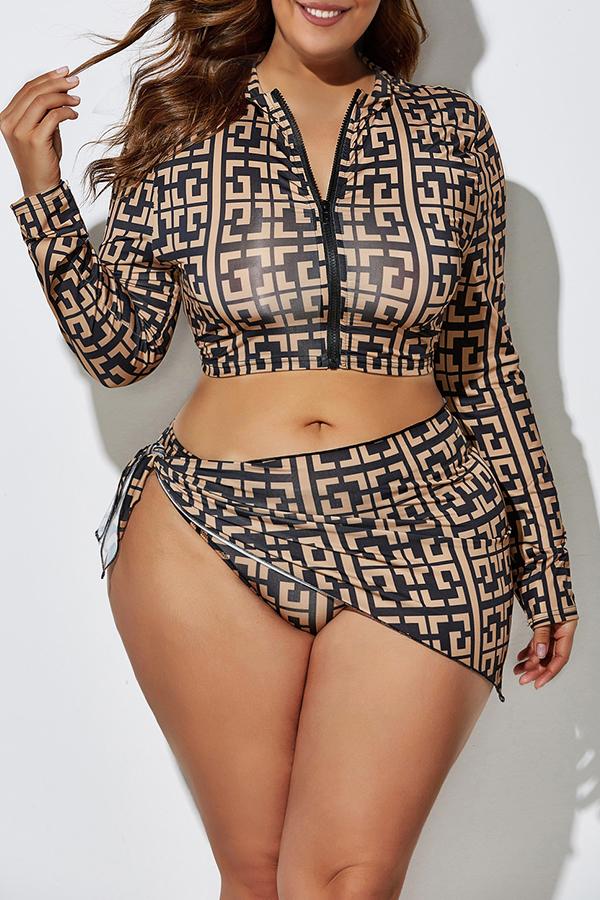 Lovely Printed Zipper Design Black Plus Size Two-piece Swimwear