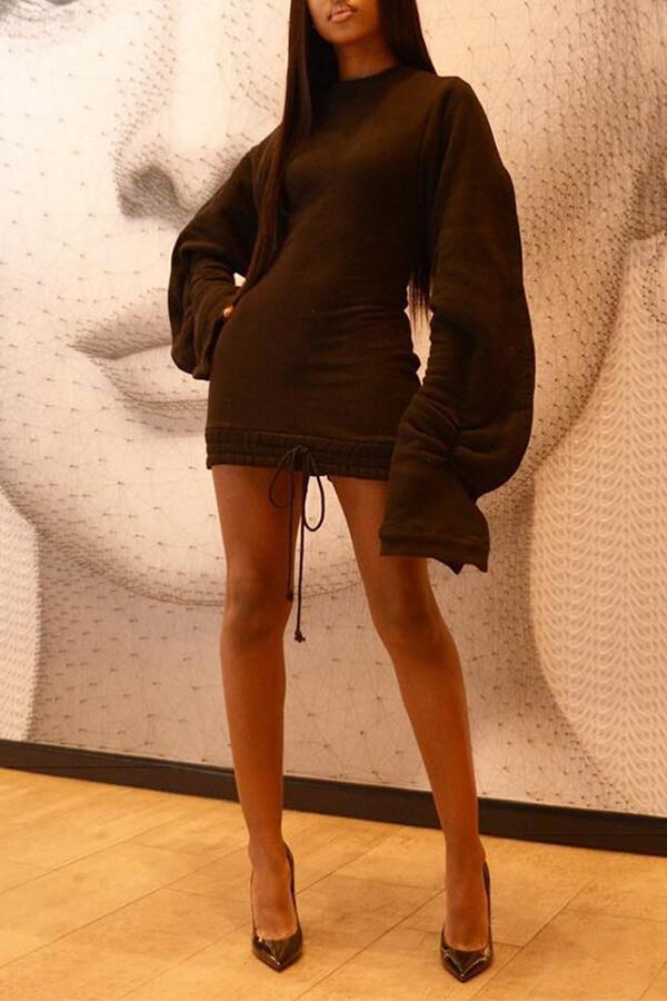 Lovely Trendy Patchwork Black Mini Dress