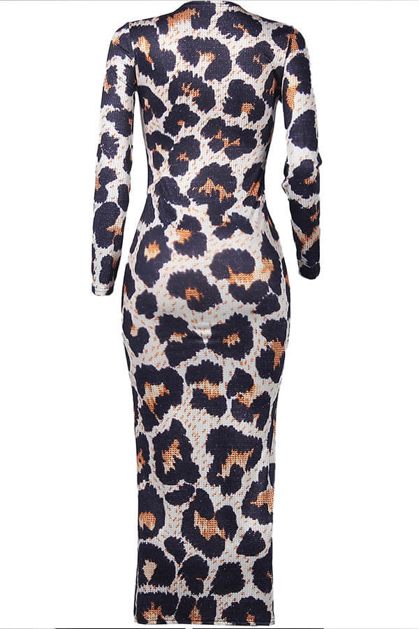 Lovely Casual Leopard Print Ankle Length Dress