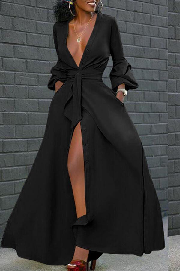 Prom Dress Lovely Casual V Neck Buttons Design Black Floor Length Dress фото