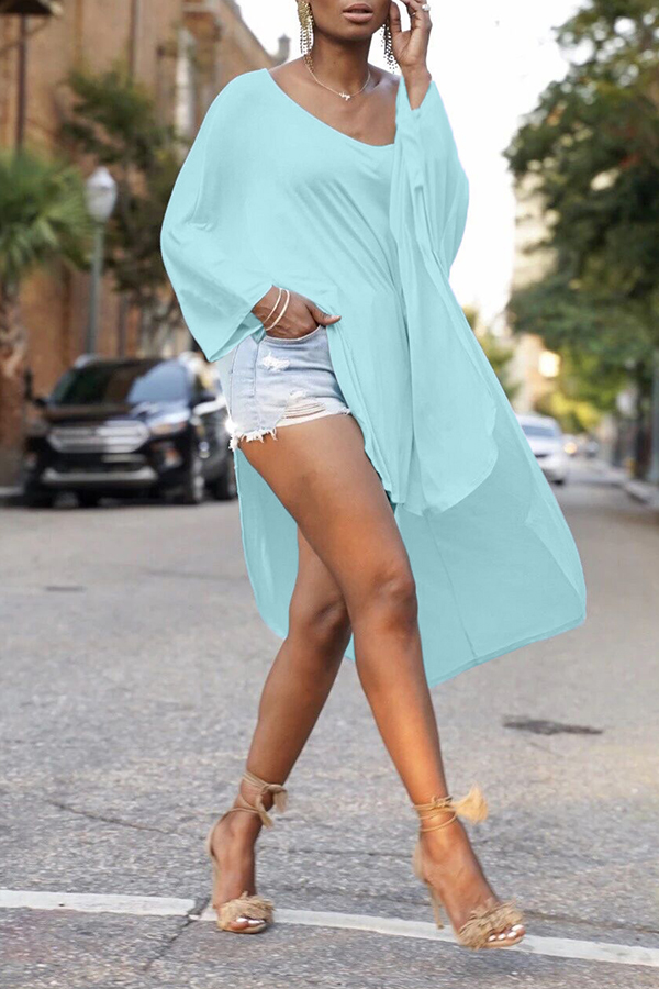 Lovely Leisure Loose Baby Blue Blouse