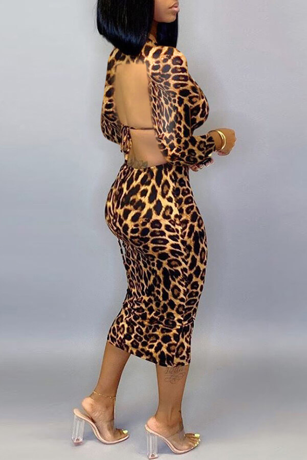 Lovely Casual Backless Leopard Printed Mid Calf Dress