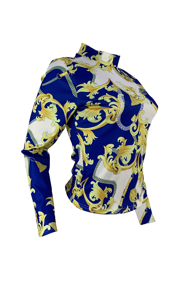Lovely Trendy Printed Skinny Blue T-shirt