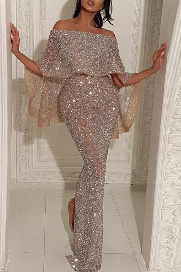 Lovely Party Flounce Design Silver Maxi Dress