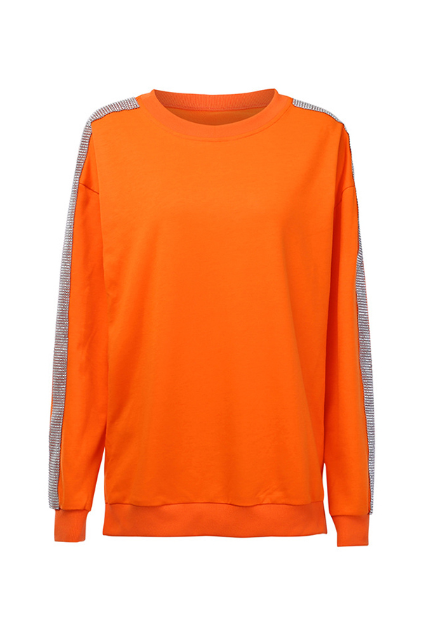 Lovely Casual O Neck Patchwork Orange Hoodie
