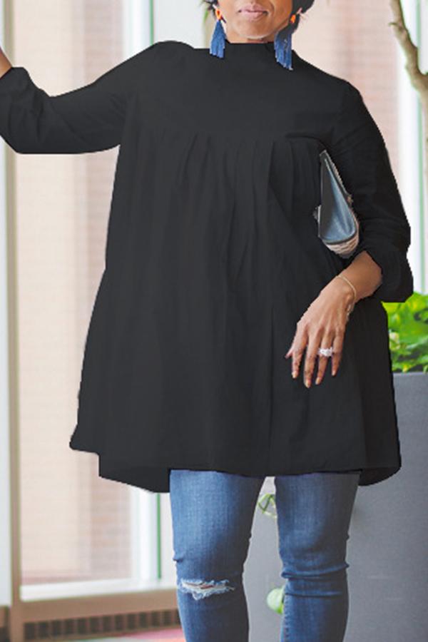 lovelywholesale / Lovely Work Ruffle Design Black Blouse