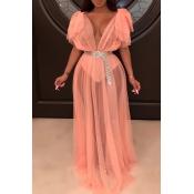 Lovely Sexy See-through Orange Floor Length Dress(