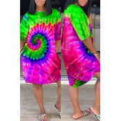 Lovely Leisure Tie-dye Green Knee Length Dress