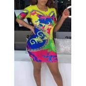 Lovely Trendy Print Multicolor Mini Dress