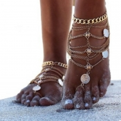 Lovely Bohemian Layered Gold Alloy Anklet
