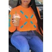 Lovely Work Crop Top Orange  Sweatshirt Hoodies