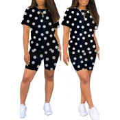 Lovely Trendy Dot Printed Black Two-piece Shorts Set