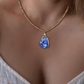 Lovely Trendy Blue Alloy Necklace