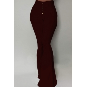 Lovely Chic Buttons Design Wine Red Pants