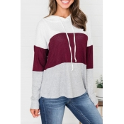 Lovely Trendy Hooded Collar Drawstring Wine Red Sw